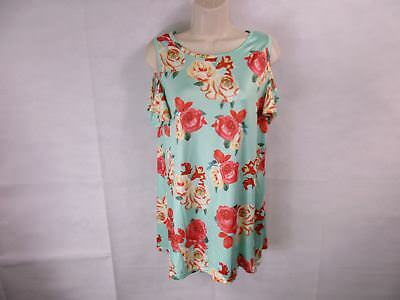 For G   Pl  Womens M Mint Floral Print Cut Out Shoulder S  See Description  New