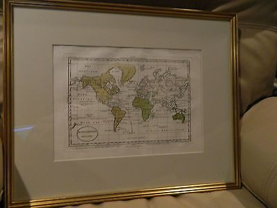 Framed 1820 Genuine Antique Hand Colored Map of the World Mappamondo Luigi Rossi