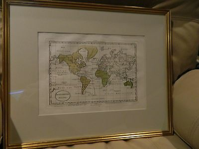 Framed 1820 Genuine Antique Hand Colored Map of the World Mappamondo Luigi Rossi