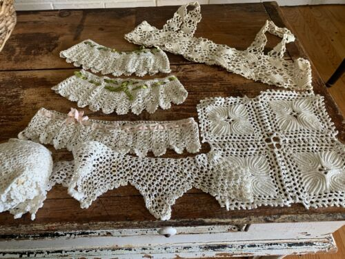 Lot Hand Made Crochet Trim Lace Victorian Antique Vintage Ribbons Collars Old