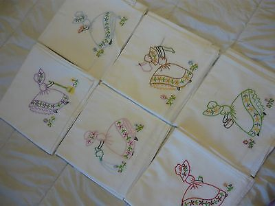 """6 Vintage HAND Embroidered Dish TOWELS, TABLECLOTHS, SUNBONNET GIRLS 33x33"""""""