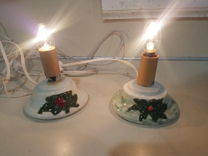 Set Of 2 Vintage Mini Ceramic Christmas Tree Light Bases