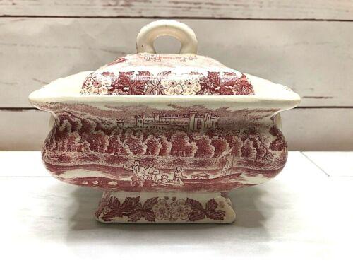 Vintage Stafordshire Ceramic Red & White Transferware Tureen Gravy Boat Country