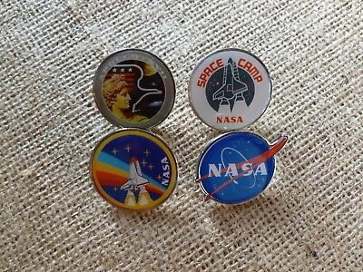NASA SPACE ENAMEL PIN BADGE SET OF 4. APOLLO,SPACE CAMP, ROCKET.STOCKING FILLER