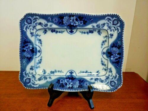 ANTIQUE F & SONS ARGYLE BURSLEM FLOW BLUE PLATTER - BEAUTIFUL