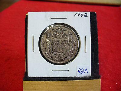 1942  CANADA  SILVER  HALF  DOLLAR  50 CENT PIECE   42A    GOOD GRADE