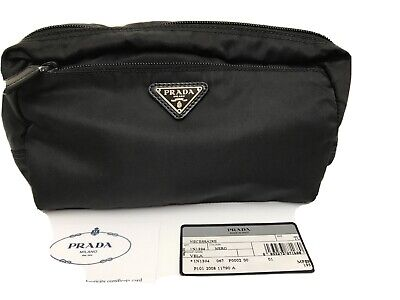 Authentic PRADA Black Nylon Cosmetic Pouch Bag