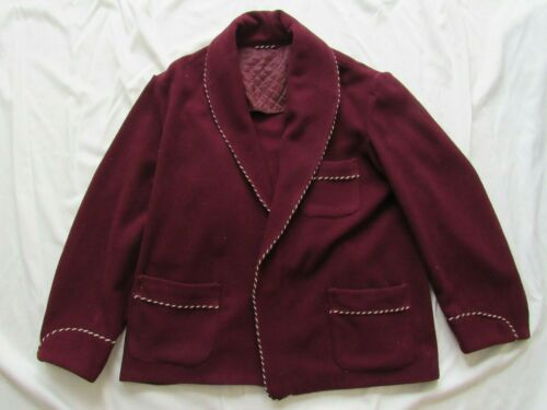 Vtg 40s 50s Cropped Wool Shawl Collar Robe Bathrobe Smoking Jacket Hollywood VLV