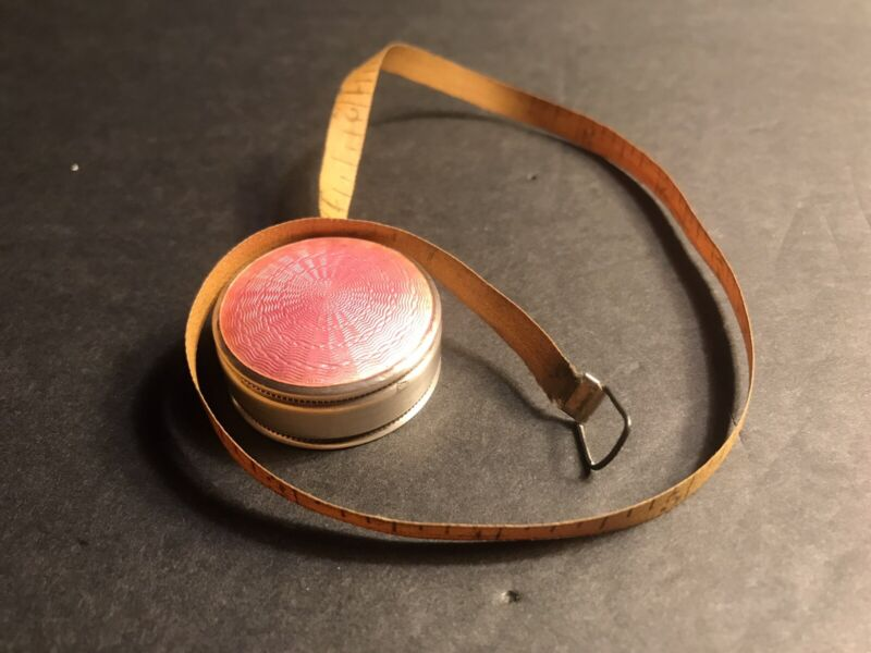 Antique Mini Sterling Silver Tape Measure / Enamel/Swan Silver Hallmark/ Pink