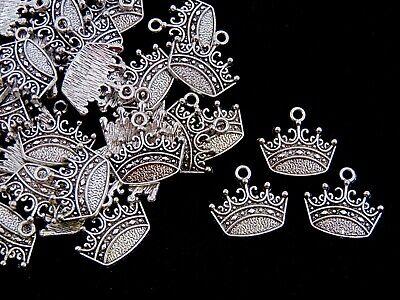 20 Pcs - Tibetan Silver Crown Charms Jewellery Pendant Princess Queen Royals F2