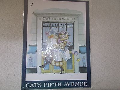 """TIN DECORATIVE SIGN """"CATS FIFTH AVENUE"""" THE CAT HALL OF FAME1996 FELINE,INC"""