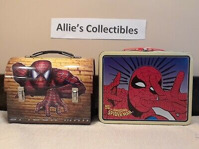 Spiderman Metal Lunchbox Lot 2: 1998 & 2002 Amazing Spiderman Marvel Domed