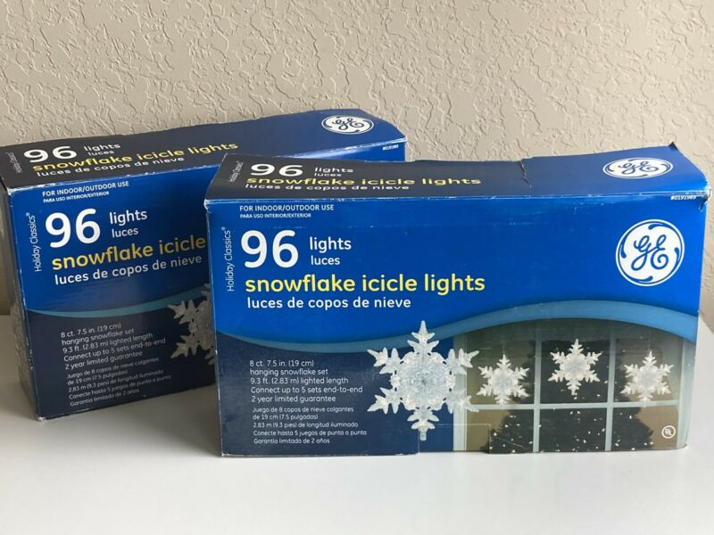 LOT 2! GE 8 CT SNOWFLAKE Icicle LIGHTS 96-Lights Winter Christmas