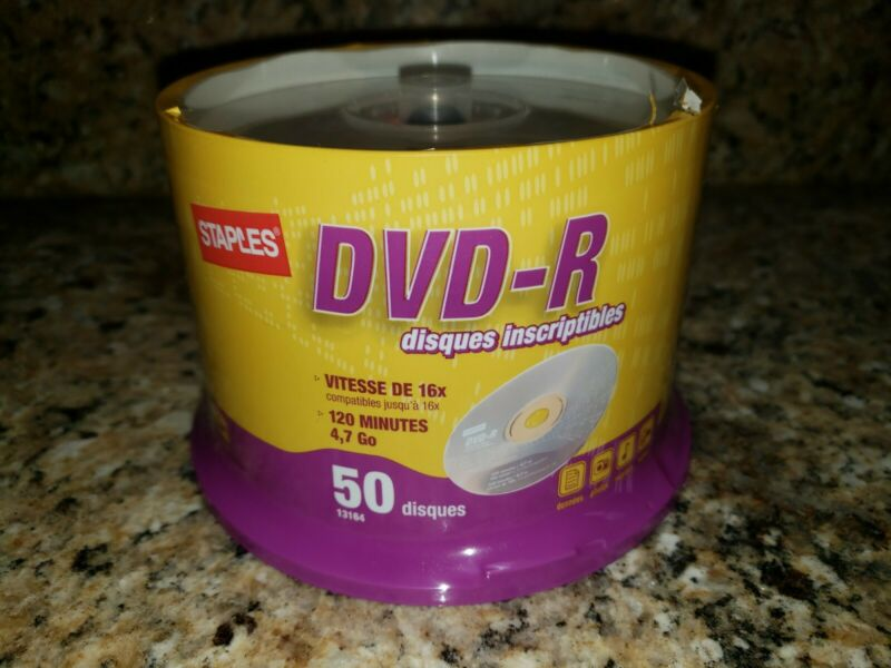 Staples DVD R 50 Disc Spindle 4.7 gb 16x compatible 120 Minutes Sealed