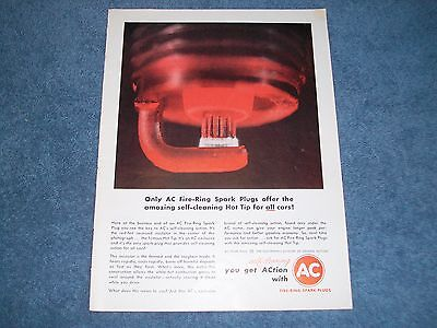 1962 Vintage Ac Spark Plugs Fire Ring Ad     Self Cleaning Hot Tip For All Cars