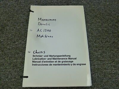 Demag Ac1300 Truck Crane Chassis Lubrication Maintenance Service Manual