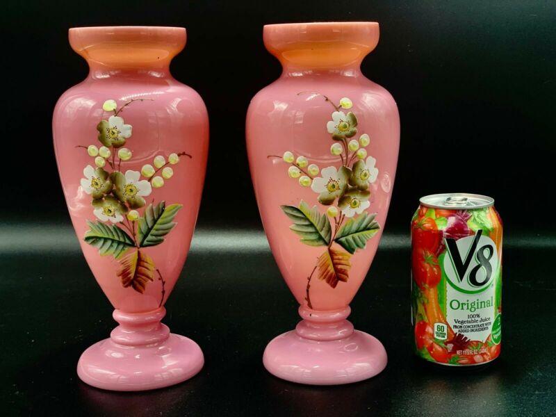 Pair Antique Bristol pink opaline glass vase hand painted flowers