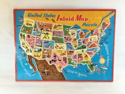 Vintage Saalfield Pub. Co. United States Inland Map Puzzle 7370 USA