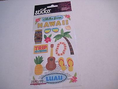 Scrapbooking Crafts Sticker Pack New Stickos Travel Hawaii Aloha Luau Palm Tree (Luau Crafts)