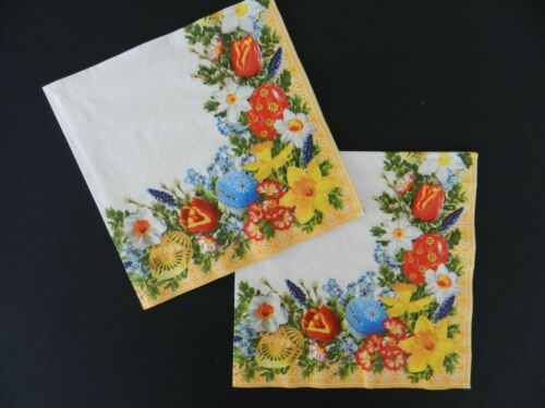 2 (Two) Single Lunch Size 3 Ply Easter Paper Napkins for Decoupage Craft Easter