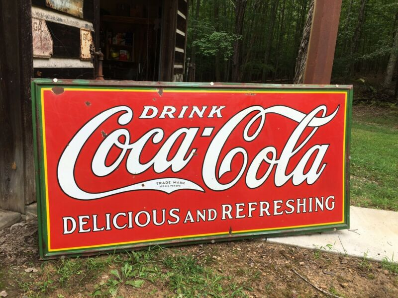 Vintage Porcelain Drink Coca Cola Advertising Sign