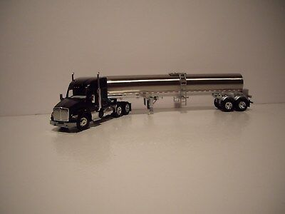 Dcp 1 64 Black Kenworth T880 With 52 Mid Roof Sleeper And Walker Milk Trailer