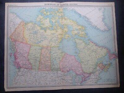 DOMINION OF CANADA,1922 WORLD MAP,TIMES ATLAS,BARTHOLOMEW,EDINBURGH,