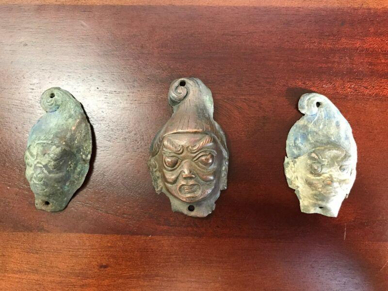 Set of 3 Small Antique Buddhist Copper / Bronze Masks - Mongolia