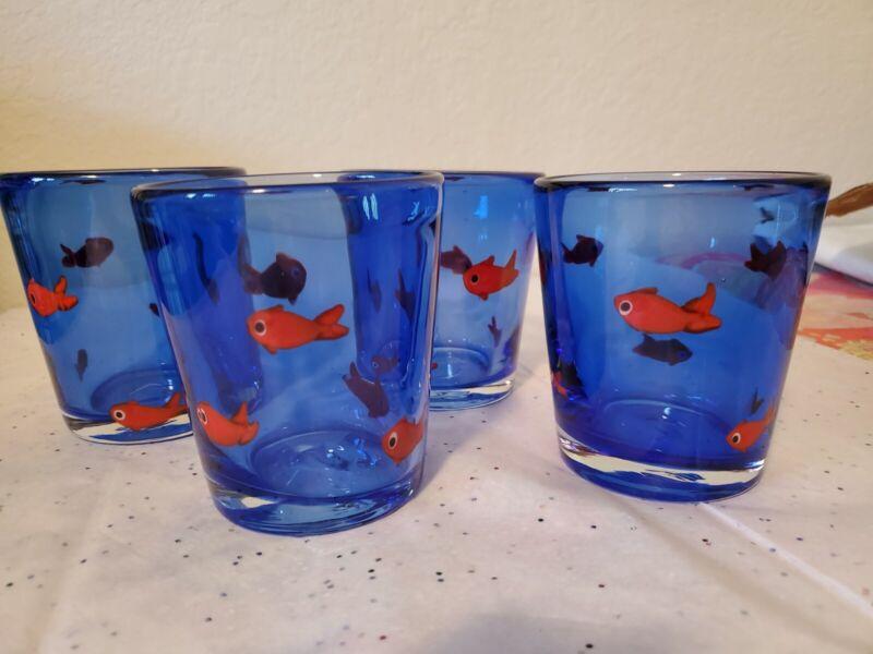 Crate and barrel Hand Blown Goldfish Koi Glasses Set Of 4
