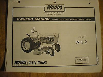 Woods 59 Rotary Mower Manual For Farmall Cub Tractor