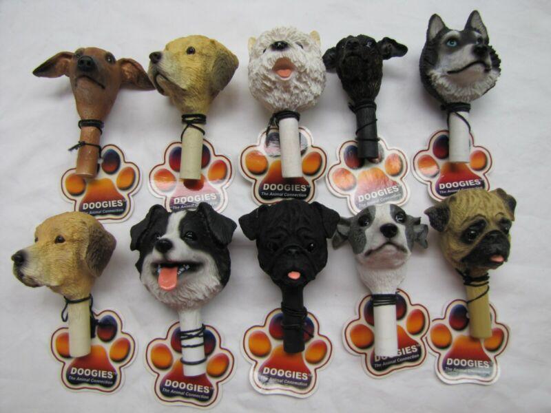 TEN Detailed Puppy Dog Bust Heads ART DOOGIES Bottle Stopper Finial Gift Emblems