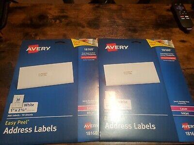 20 Sheets Avery 18160 Easy Peel Address Labels 1 X 2-58 Laser Inkjet 5160 Lot