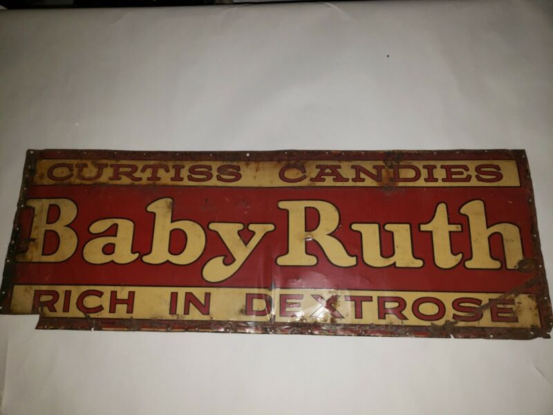 "Vintage Tin Tacker Advertising Sign Baby Ruth Candy 10x28"" Curtiss Candies"