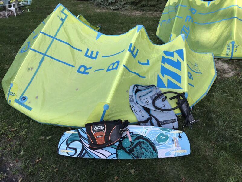 Kiteboard Package - 9 M North Rebel, Board, Bag, Pump, Harness, Leash