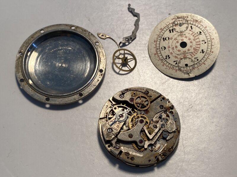 Pierce chronograph 17 Jewel Landeron 248 movement dial & partial case for Repair