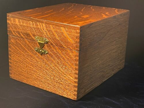 Large Antique Vintage Weis Oak Wood Dovetailed Index 6x8 Recipe Card File Box