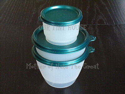 Vtg Tupperware Lunch Set Refrigerator Little Wonders Bowl & Snack Cup Gem Green
