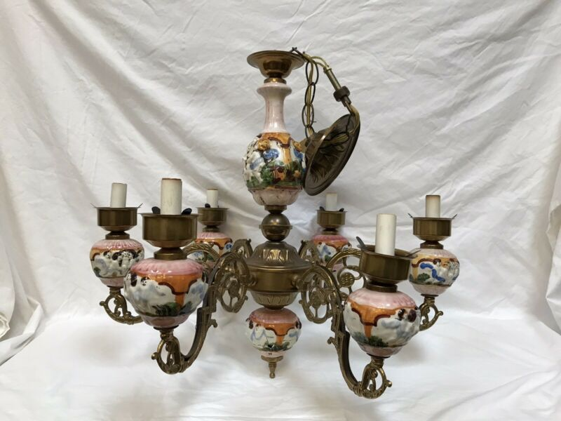 Capodimonte Made In Italy Chandelier 6 Light Cherub Porcelain Vintage