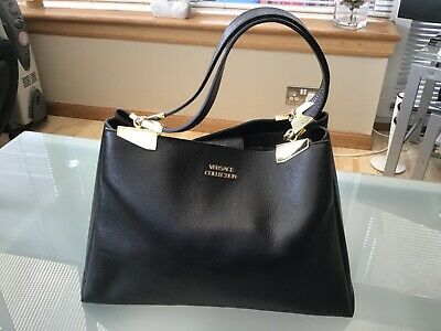 VERSACE COLLECTION LARGE TOTE BLACK PEBBLED LEATHER HAND BAG HANDBAG 2 HANDLES