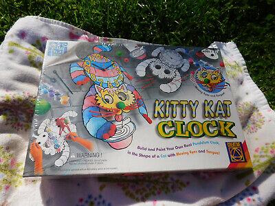 Vtg Kitty Kat build your own Paint Pendulum Clock Shape Cat Moving eyes Tongue