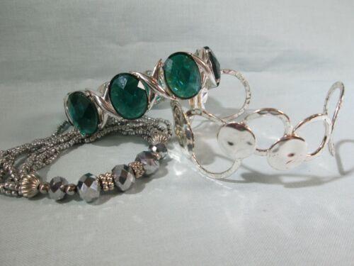 Bracelet Lot of 3: Silver Tone - Cuff & Stretch - Teal Acrylic Stones - Glass