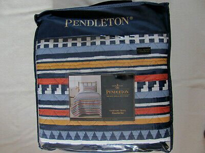 Pendleton Tamiami Trail- Blue Multi -Full/Queen Quilt Set w/ 2 Shams -New -