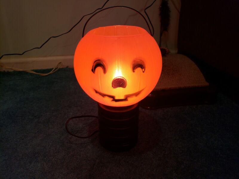 Halloween Lighted pumpkin Candy Bowl 1970s