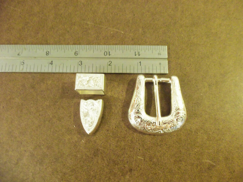 """Silver Plated Western Floral Buckle 3 Piece Set ( 3/4"""" - 1"""" - 1 1/2"""" )"""