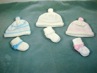 Lot of 3 Knit Hat/Caps & Bootie Socks fits 14-16