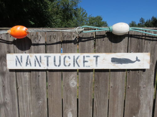 48 INCH WOOD HAND PAINTED NANTUCKET WHALE SIGN NAUTICAL SEAFOOD (#S812)