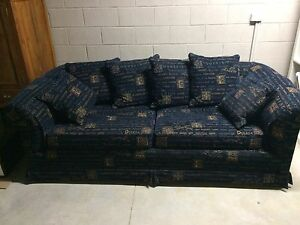 3 Seat Couch - Sofa Workshop Blue and Gold 3 seater couch Hampton Bayside Area Preview