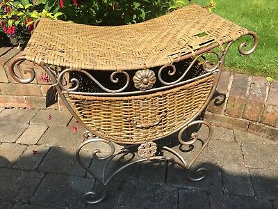 Vintage Rattan Stool With Drawer