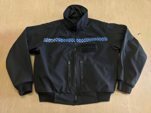 Genuine Ex Police Issue Black Windproof Soft Shell Jacket Size X-Small Short UK
