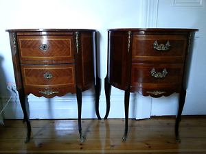 2 x Antique French Provincial Bedside Tables Woodville Charles Sturt Area Preview